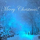 Winter Landscape Blue Christmas Card by hurmerinta