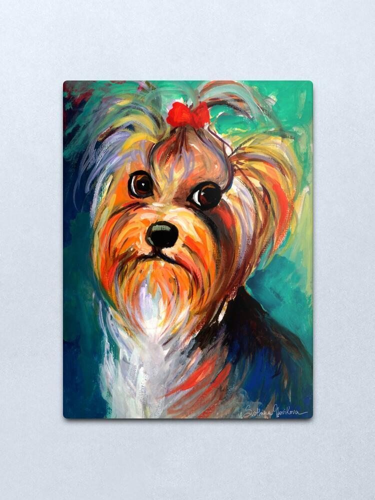 Alternate view of Yorkshire Terrier dog Painting #1 Svetlana Novikova Metal Print