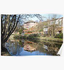 Riverside properties reflected. Poster