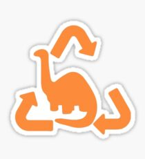 Brontosaurus Recycled Gas Cap Door Orange Sticker