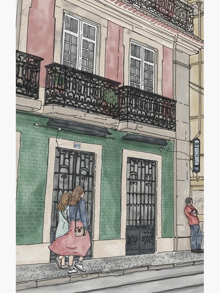 Lisbon street scene illustration by NaliniLe