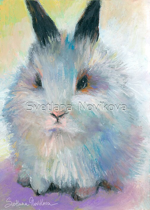 Bunny rabbit cute painting Svetlana Novikova by Svetlana  Novikova
