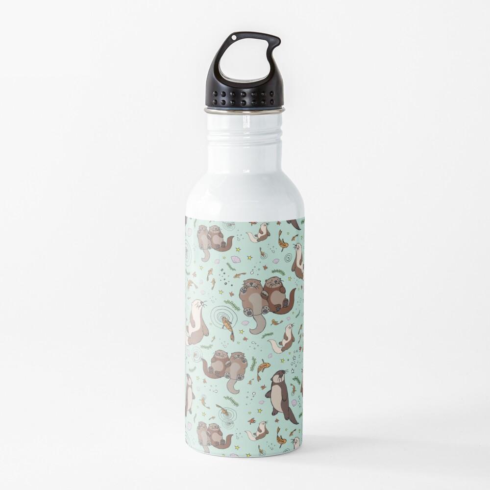 Otters in Blue Water Bottle