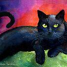 Black Cat Watercolor portrait Painting Svetlana Novikova by Svetlana  Novikova