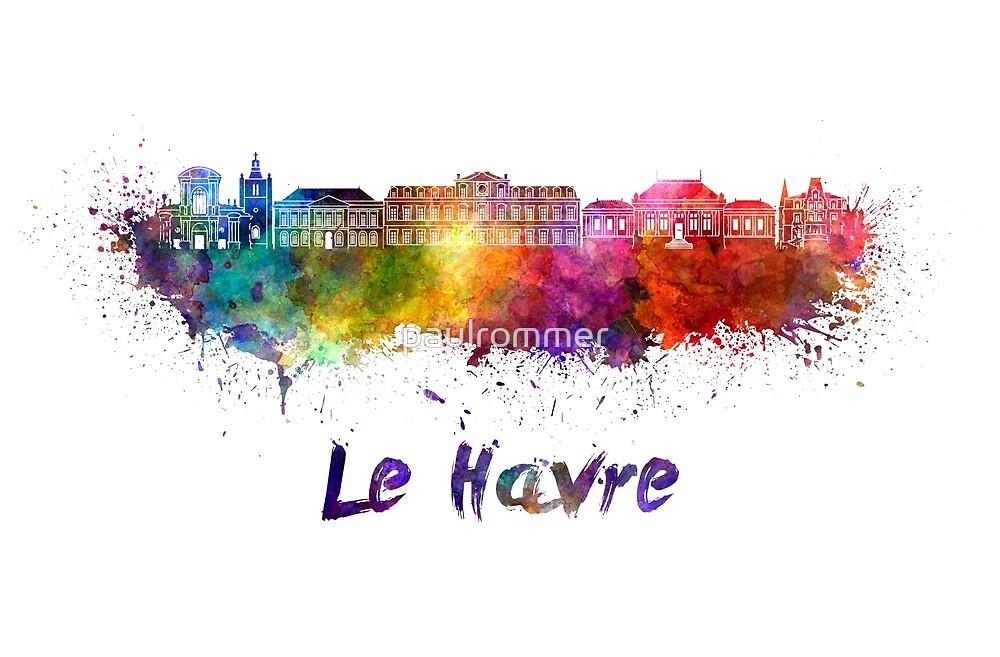 Le Havre skyline in watercolor by paulrommer