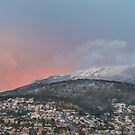 Hobart and kunanyi / Mt Wellington dusted with snow by Paul Fleming