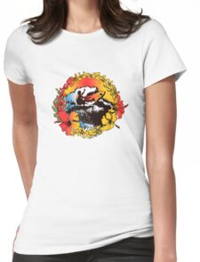 Groovy Hawaiian Surfer 1960s Retro Graphic - Navy & Red Womens Fitted T-Shirt