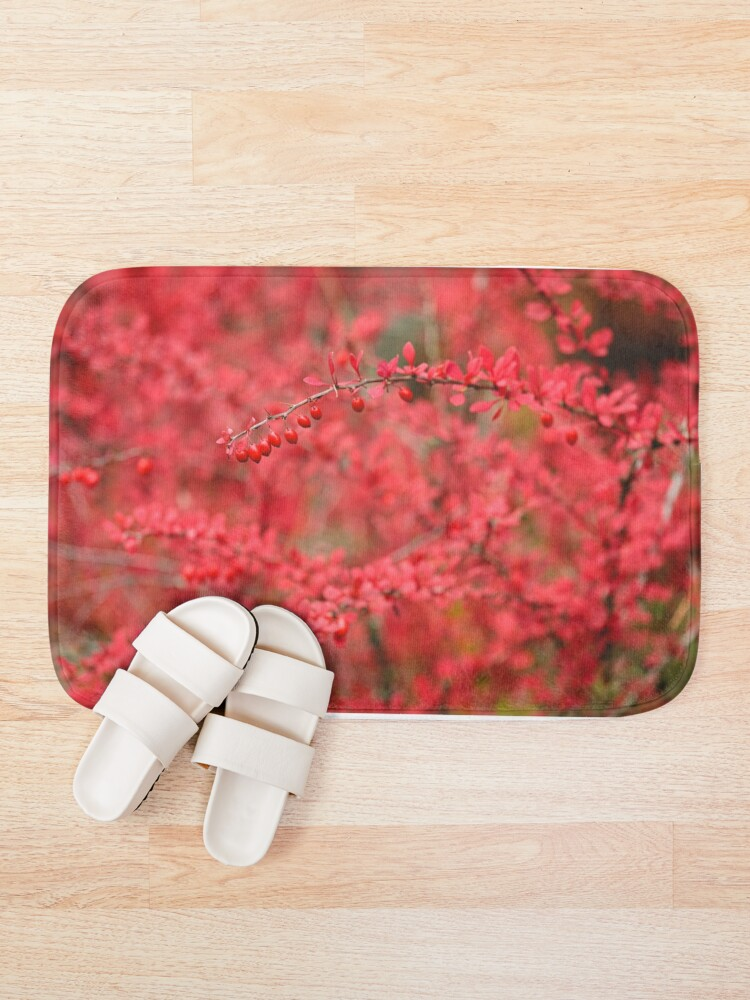 Alternate view of Close-up of red barberry in autumn Bath Mat