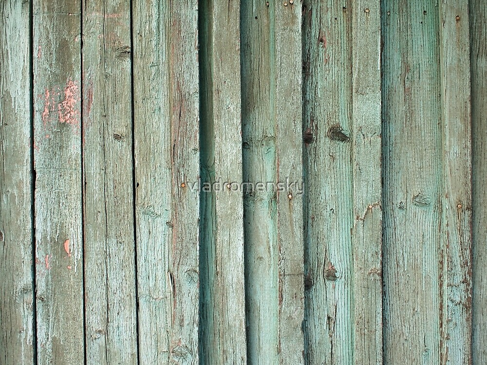 Fragment of an old fence with wooden planks by vladromensky