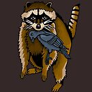 Raccoon With A Raven by DrewChial
