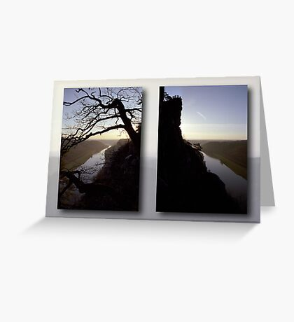 High above the Elbe river - diptych (Saxony Switzerland, Germany) Greeting Card