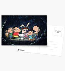 shin chan postcards redbubble