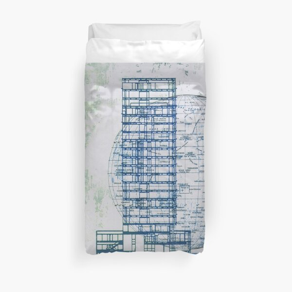 A blue moon rises as the building scrapes the sky Duvet Cover