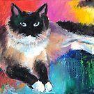 Impressionistic Ragdoll Cat painting Svetlana Novikova by Svetlana  Novikova