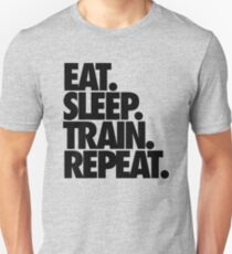 Camiseta unisex COMER. DORMIR. TREN. REPETIR.