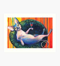 Sphynx Cat 'chilling' painting Svetlana Novikova Art Print
