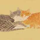 Two Cats Sleeping by Charles Stuart