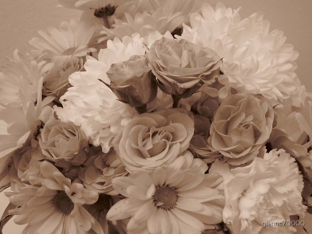 Floral Arrangement in Sepia by glennc70000