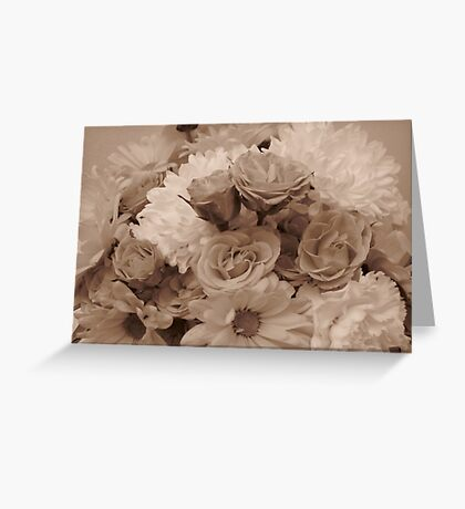 Floral Arrangement in Sepia Greeting Card