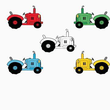Colourful Tractor kids tee by whitetigerau