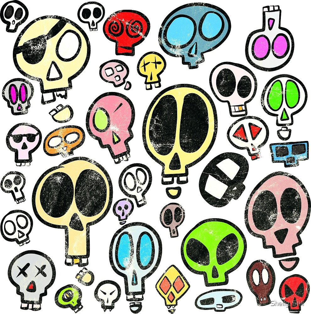 Collection of Colourful Cartoon Skulls by Shelly Still