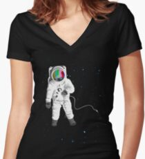 Space Visual Odyssey Women's Fitted V-Neck T-Shirt