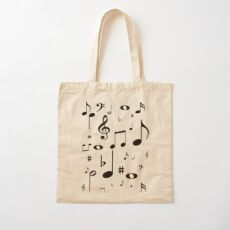 Music notes black Cotton Tote Bag