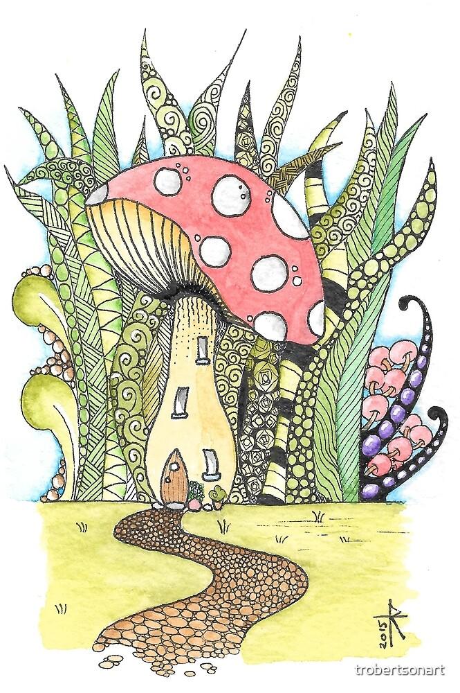 Fairy Toadstool Watercolour by Tara Robertson