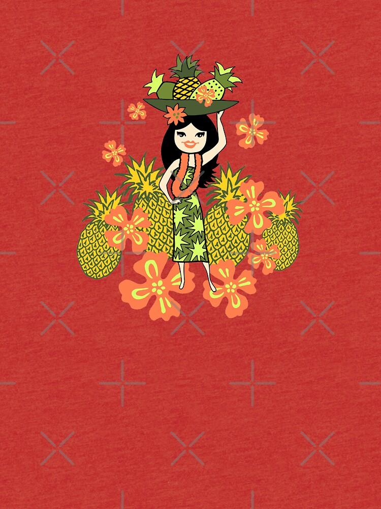 Pineapple Luau Hawaiian Hula Girl - Lemon & Papaya by DriveIndustries