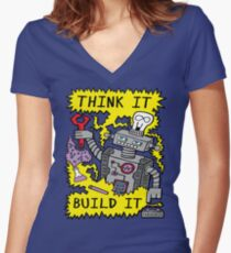 Think Build Robot Women's Fitted V-Neck T-Shirt