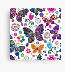 Colorful Retro Butterfly's And Flowers Pattern Canvas Print