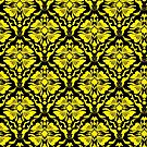 Black And Yellow Vintage Floral Damasks Pattern by artonwear