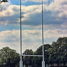 Rugby goal post at Rugby School by Avril Harris