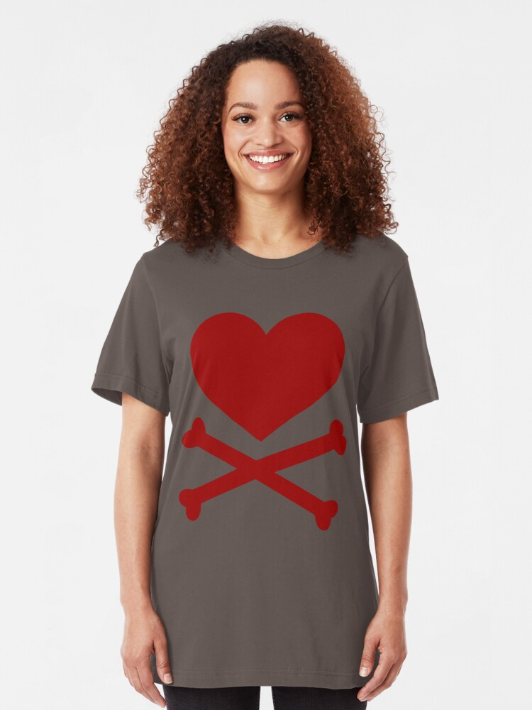 Alternate view of Pirate Love (Red). Slim Fit T-Shirt