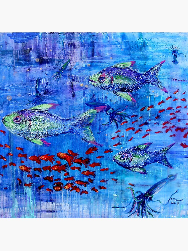 Fishscape with squid by rvalluzzi