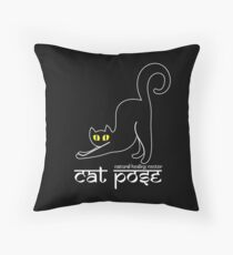 Cat Pose 2 - Cat Yoga (white text) Throw Pillow