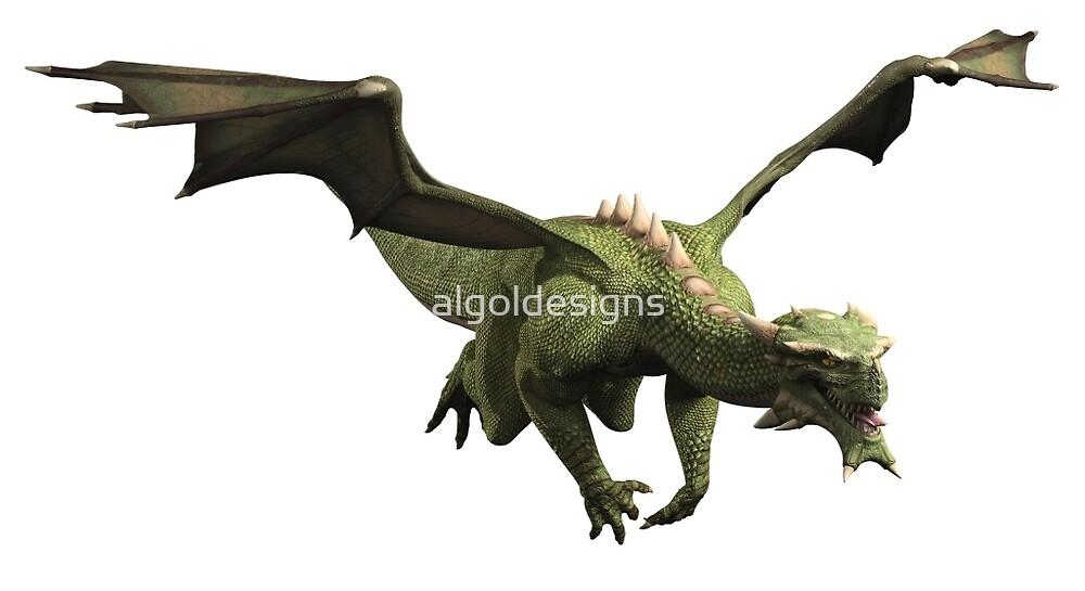 Green Dragon in Flight by algoldesigns