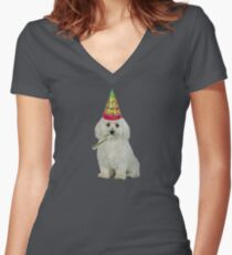 Bichon Frise Birthday Women's Fitted V-Neck T-Shirt