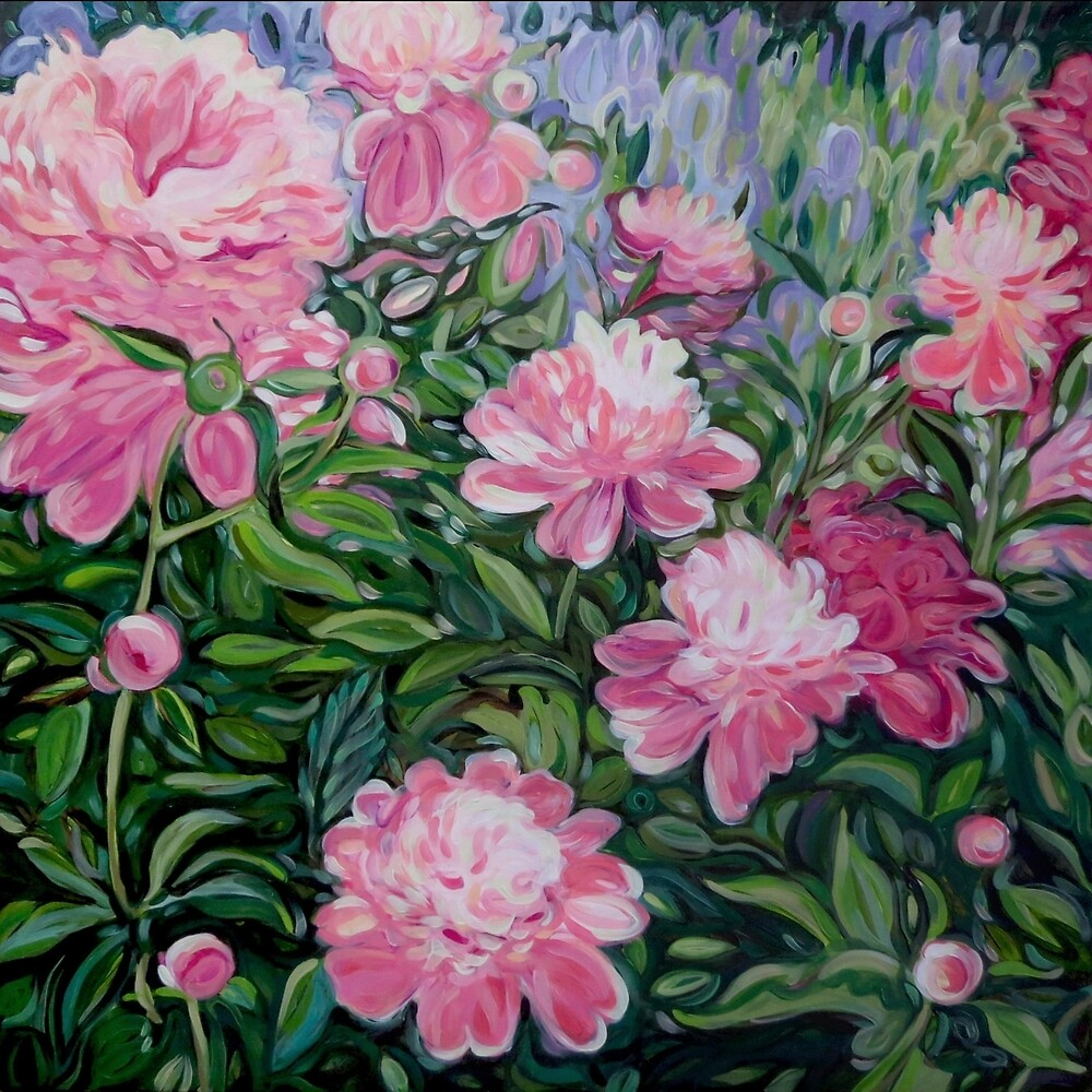 Pink Peonies - a Garden Painting by Lucinda  Storms