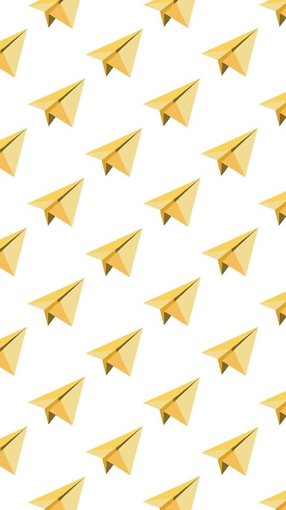 Yellow Paper Plane Pattern  by me-dee125