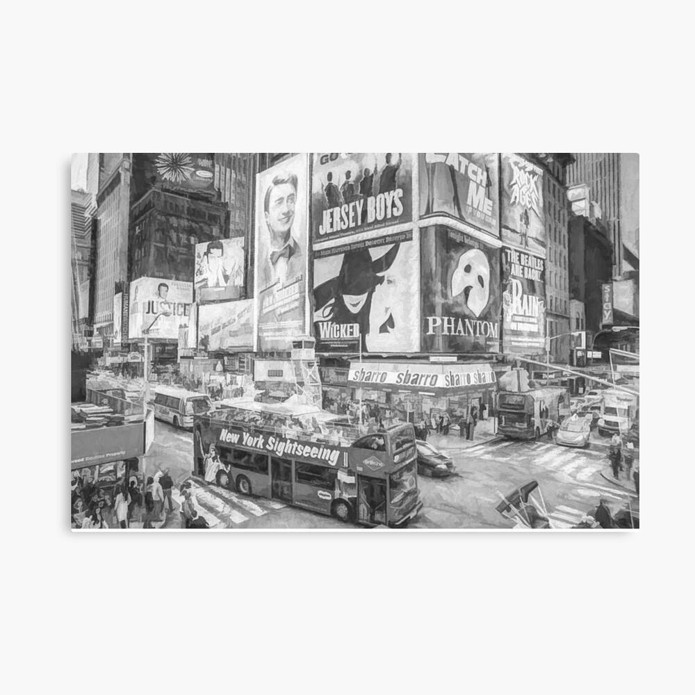 Times Square II (black & white pen and ink sketch) Canvas Print