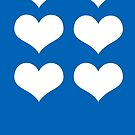White Hearts On Blue by hurmerinta