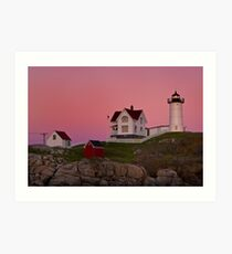 Nubble Lighthouse with Pink Sky, Sunset Art Print