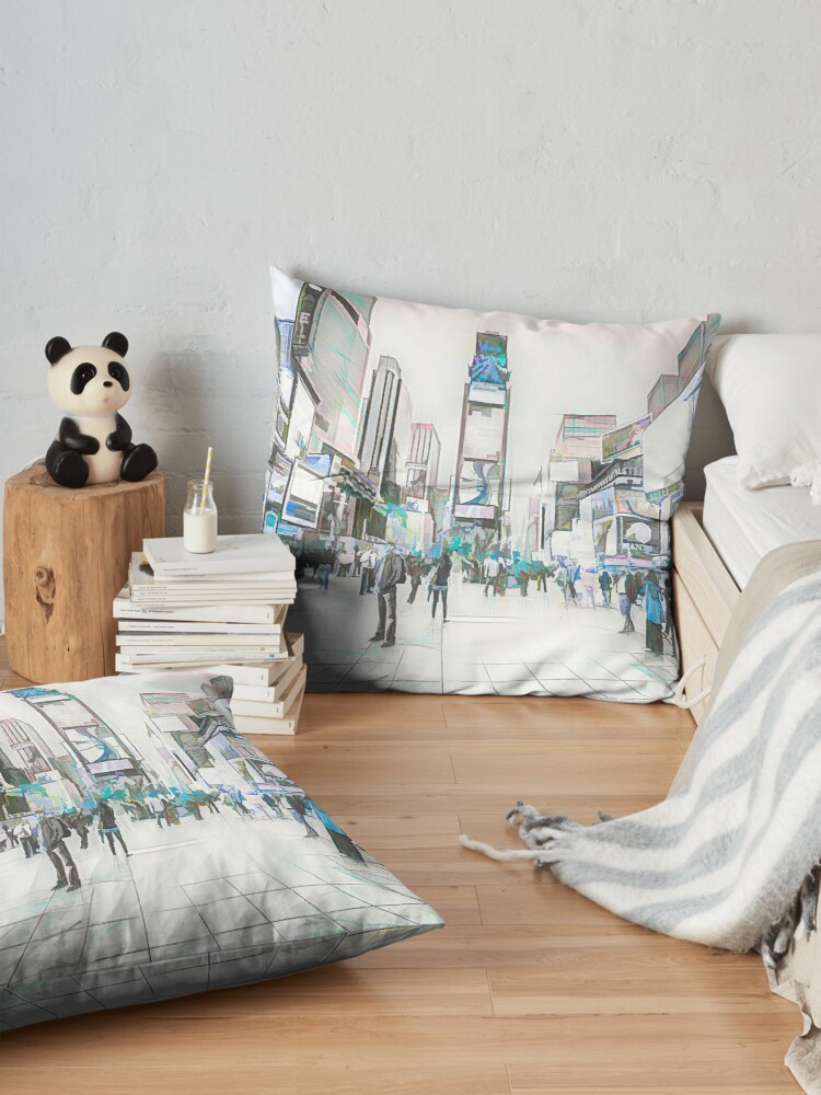 Alternate view of Times Square Sparkle (colour sketch) Floor Pillow