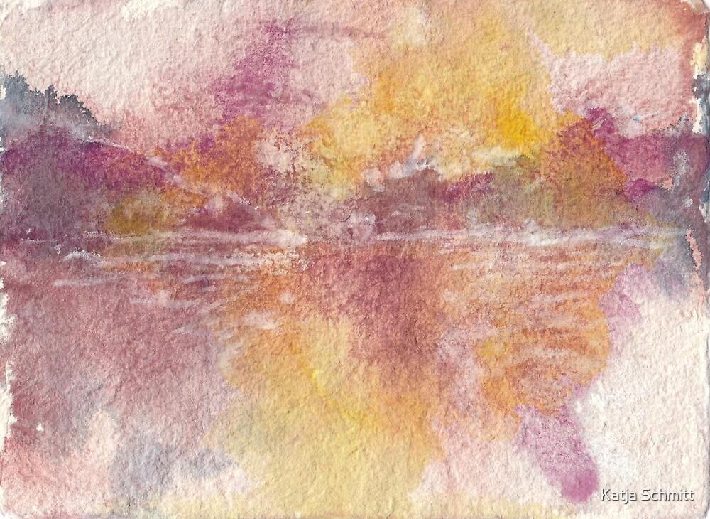 Watercolor from Lake Wakatipu at sunset, Queenstown, New Zealand by Katja Schmitt