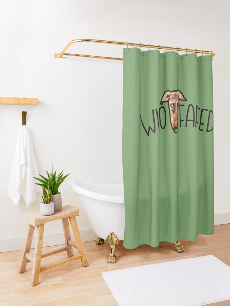 Alternate view of Who farted greyhound humor Shower Curtain