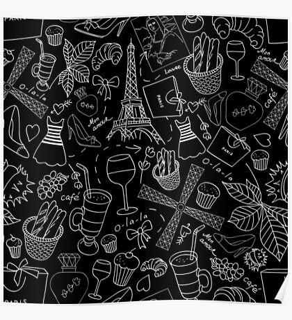 - Walking in Paris pattern 2 - Poster