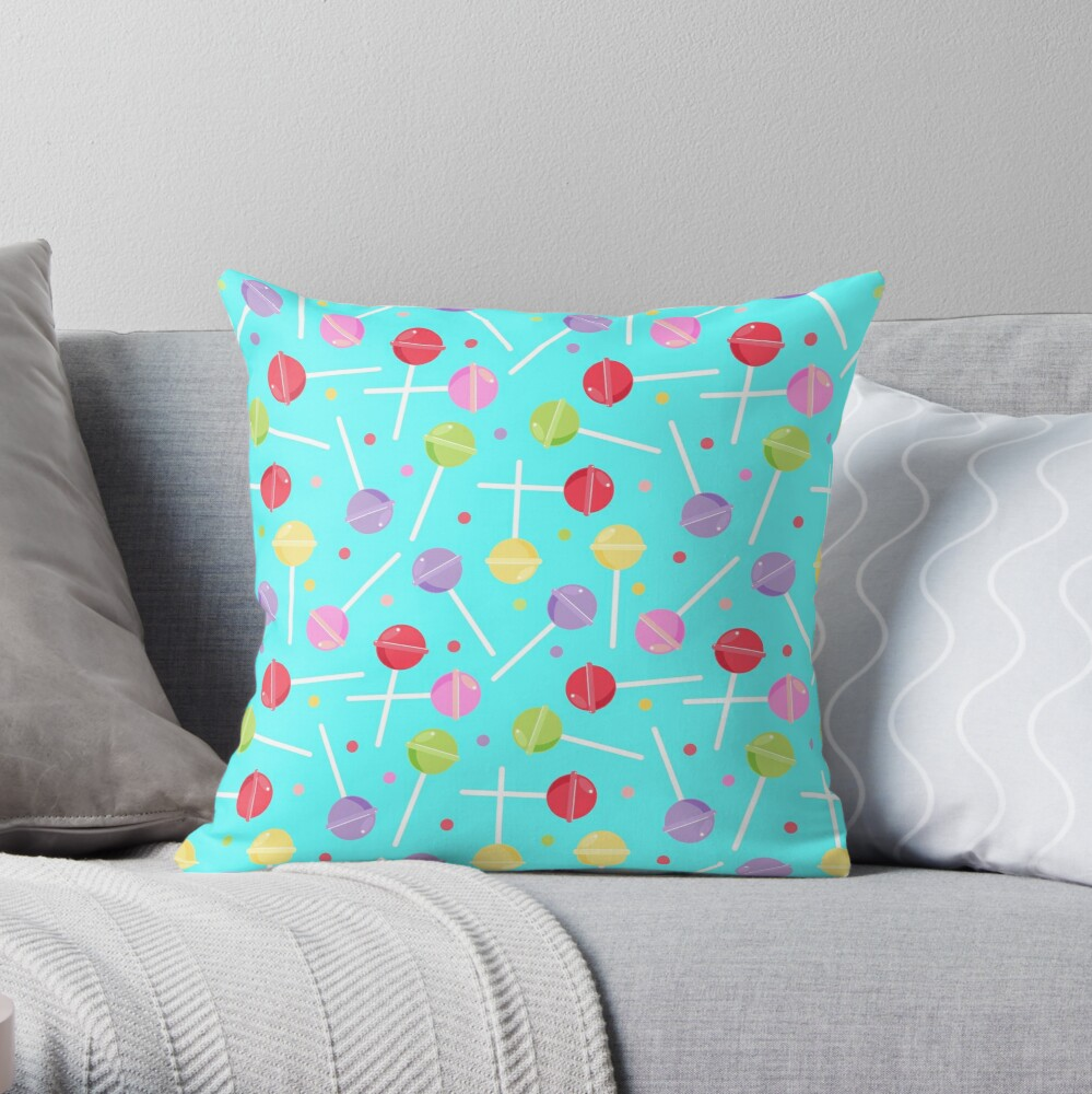 Pastel Candy lollipops repeat Pattern Throw Pillow
