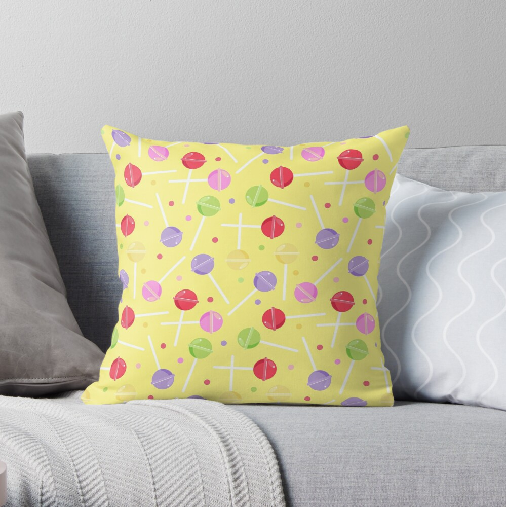 Retro Pastel Candy lollipops repeat Pattern Throw Pillow