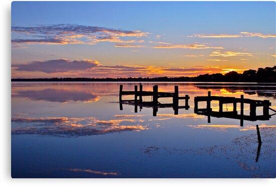 Sunrise on lake.  11-2-11 by Warren  Patten